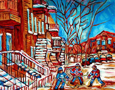 Hockey Painting - Verdun Montreal Street Hockey Winding Staircase Winter City Scene Montreal Memories Carole Spandau   by Carole Spandau