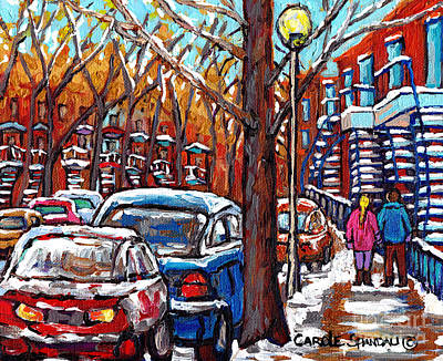 Montreal Memories Painting - Verdun Montreal Winter Staircase Scene Montreal City Stroll Canadian Painting Carole Spandau         by Carole Spandau