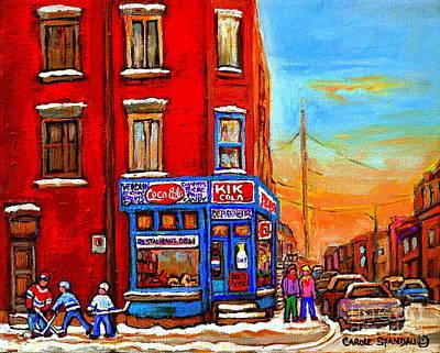 Painting - Verdun Montreal Winter Street Scene Corner Store Hockey Art by Carole Spandau