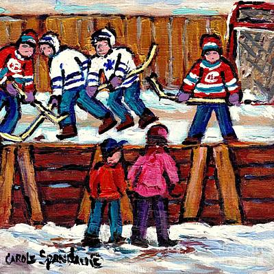 Painting - Verdun Neighborhood Hockey Rink Painting Cheering Our Home Team Habs Vs Leafs Quebec Carole Spandau by Carole Spandau