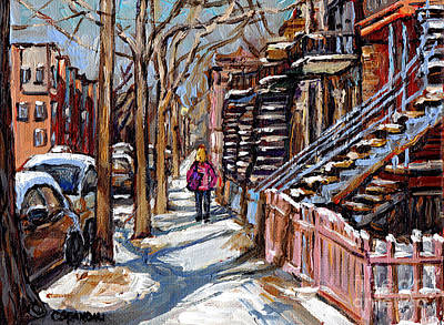 Montreal Memories. Painting - Verdun Winter Street Scene Painting Blond Girl With Pink Coat Montreal Staircase Canadian Art by Carole Spandau