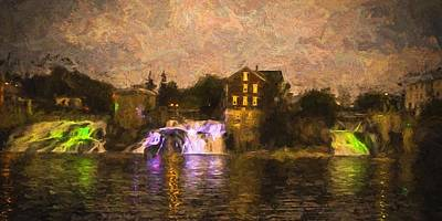 Vergennes Falls Lit Up Art Print