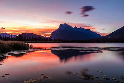 Sunrise Photograph - Vermilion Lakes Sunrise by Pierre Leclerc Photography