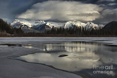 Photograph - Vermilion Lakes Winter Reflections by Adam Jewell