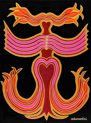 Animals And Feng Shui Art Wall Art - Painting - Vermilion Phoenix by Adamantini Feng shui