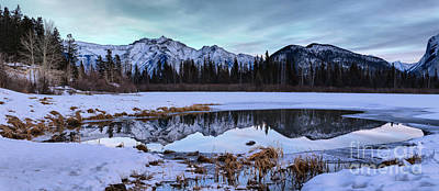 Photograph - Vermilion Ponds Icy Reflections Panorama by Adam Jewell