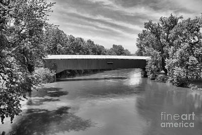Photograph - Vermillion County Eugene Covered Bridge Black And White by Adam Jewell