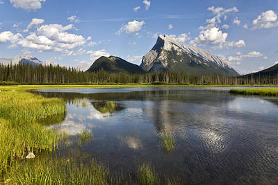 Vermillion Lake And Sulpher Mountain Art Print