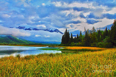 Photograph - Vermillion Lakes Impressionism by Nina Silver