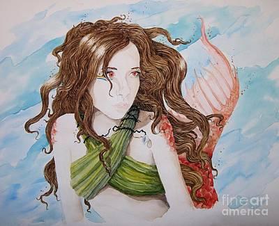 Vermillion Mermaid Art Print by Theresa Higby