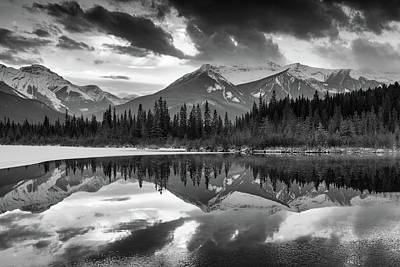 Photograph - Vermillion Reflection -b/w by Michael Blanchette