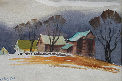 Painting - Vermont Barns  Sketch by Len Stomski