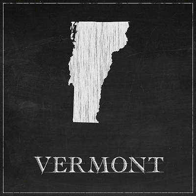 Vermont Map Digital Art - Vermont - Chalk by Finlay McNevin