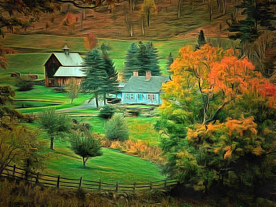 Autumn Landscape Digital Art - Vermont Country by Anthony Caruso