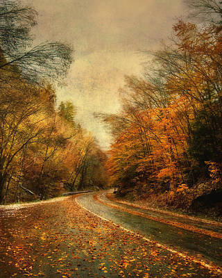 New England Fall Photograph - Vermont Country Road In Autumn by Joann Vitali