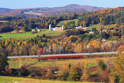 Autumn Foliage Photograph - Vermont Countryside View Pownal by John Burk