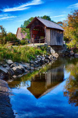 Vermont Covered Bridge In Autumn Art Print by Jeff Folger