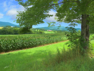 Cornfield Mixed Media - Vermont Farm In Late Summer by Tom Cheney
