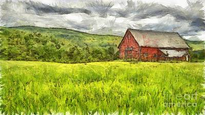 Vermont Farm Landscape Pencil Art Print