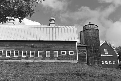 Photograph - Vermont Farm Woodstock Vt Red Barn Black And White by Toby McGuire