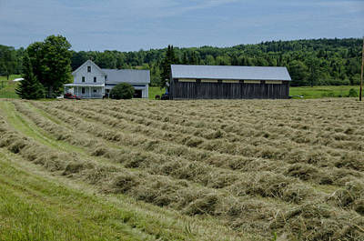 Farmhouse Photograph - Vermont Farmhouse With Hay by Donna Doherty