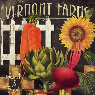 Rural Art Painting - Vermont Farms Vegetables by Mindy Sommers