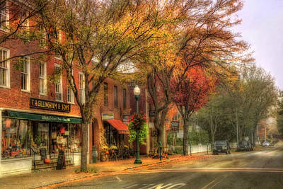 Autumn Scene Photograph - Vermont General Store In Autumn - Woodstock Vt by Joann Vitali
