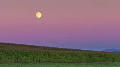 Photograph - Vermont Harvest Moonrise by Alan L Graham