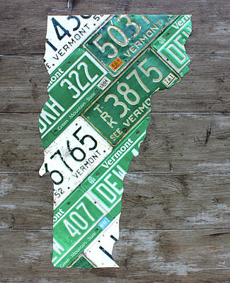 Vermont Map Mixed Media - Vermont License Plate Map Art Edition 2017 by Design Turnpike