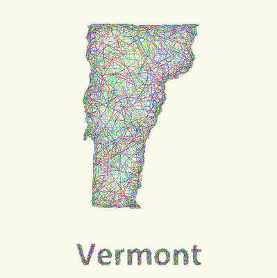 Vermont Map Digital Art - Vermont Line Art Map by David Zydd