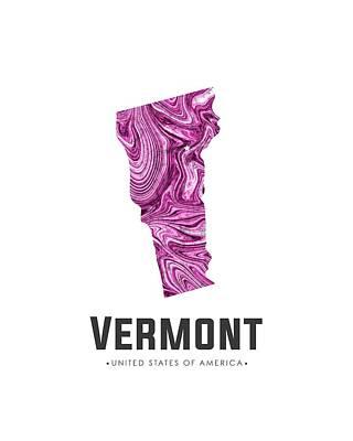 Mixed Media - Vermont Map Art Abstract In Purple by Studio Grafiikka