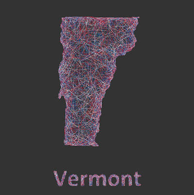Vermont Drawing - Vermont Map by David Zydd
