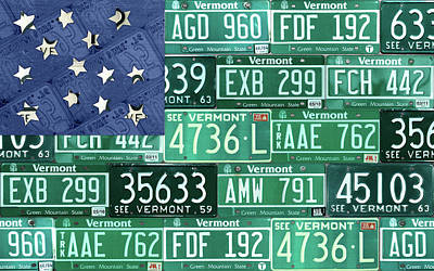 Vermont National Guard Flag Vintage Recycled License Plate Art Art Print by Design Turnpike