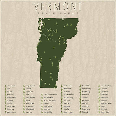 Vermont Map Digital Art - Vermont Parks by Finlay McNevin