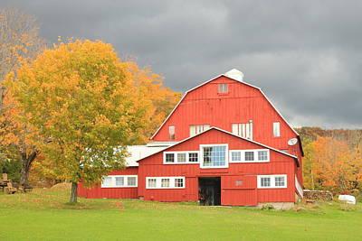 Photograph - Vermont Red Barn In Autumn Rain by John Burk
