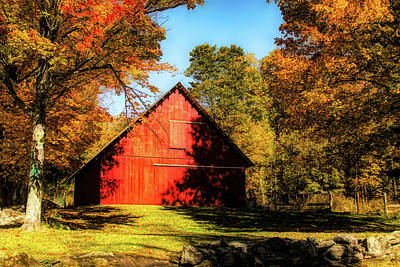 Photograph - Vermont Red Barn Under Fall Colors by Jeff Folger