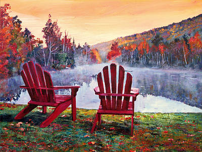 Reflection Painting - Vermont Romance by David Lloyd Glover