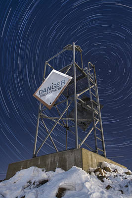 Vermont-star Trails-tower-night-winter Art Print by Andy Gimino