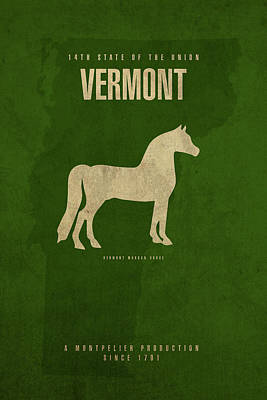 Morgan Horse Mixed Media - Vermont State Facts Minimalist Movie Poster Art by Design Turnpike