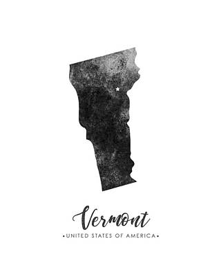 Vermont Map Mixed Media - Vermont State Map Art - Grunge Silhouette by Studio Grafiikka