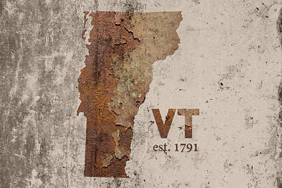Vermont State Map Industrial Rusted Metal On Cement Wall With Founding Date Series 008 Art Print by Design Turnpike