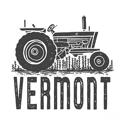 Digital Art - Vermont Vintage Tractor Tee by Edward Fielding