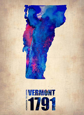Vermont Map Digital Art - Vermont Watercolor Map by Naxart Studio
