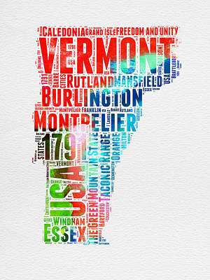 Vermont Map Digital Art - Vermont Watercolor Word Cloud  by Naxart Studio