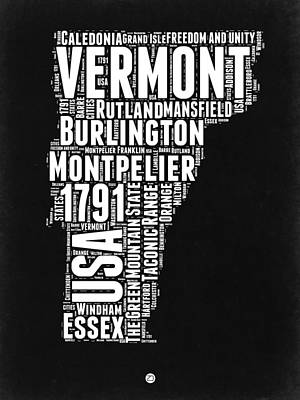 Essex Wall Art - Digital Art - Vermont Word Cloud Black And White Map by Naxart Studio