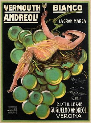 Mixed Media Royalty Free Images - Vermouth Bianco Andreoli - Vintage Wine Advertising Poster Royalty-Free Image by Studio Grafiikka