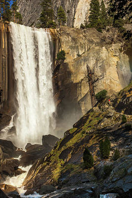 Photograph - Vernal Falls And Hiker - Yosemite by Jay Moore