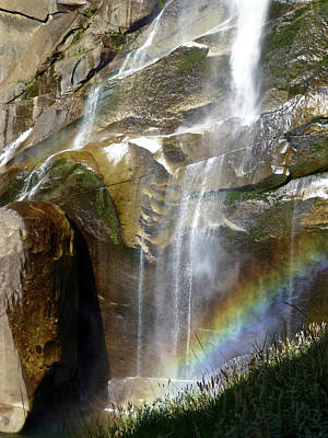 Photograph - Vernal Falls Rainbow And Plants by Amelia Racca