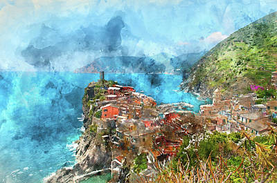 Italy Photograph - Vernazza And Ocean Coast In Cinque Terre by Brandon Bourdages