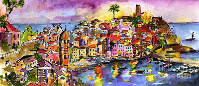 Vernazza At Night Art Print